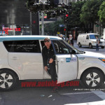 kia soul ev spy photo guy getting out to tell them stop